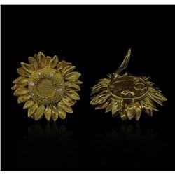 0.38ctw Diamond Non-Pierced Sunflower Earrings - 18KT Yellow Gold
