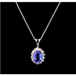 3.00ct Tanzanite and Diamond Pendant With Chain - 14KT White Gold