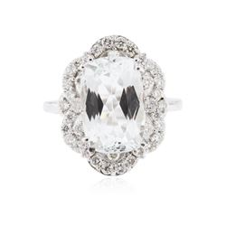 14KT White Gold 5.13ct Aquamarine and Diamond Ring