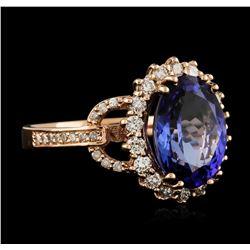 14KT Rose Gold 4.13ct Tanzanite and Diamond Ring