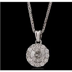 14KT White Gold 0.93ctw Diamond Pendant With Chain
