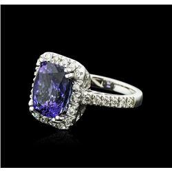 14KT White Gold 6.14ct Tanzanite and Diamond Ring