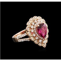 1.48ct Rubellite and Diamond Ring - 14KT Rose Gold
