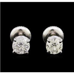 1.17ctw Diamond Stud Earrings - 14KT White Gold