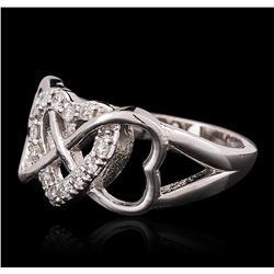 14KT White Gold 0.27ctw Heart Diamond Ring