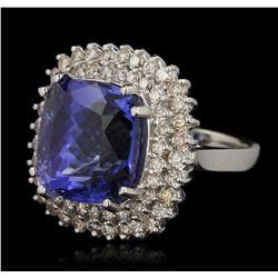 14KT White Gold 16.51ct GIA Cert Tanzanite and Diamond Ring