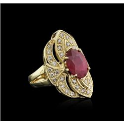 14KT Yellow Gold 4.06ct Ruby and Diamond Ring