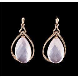 34.48ctw Rose Quartz and Diamond Earrings - 14KT Rose Gold