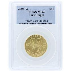 2003-W PCGS MS69 $10 First Flight Centennial Gold Coin