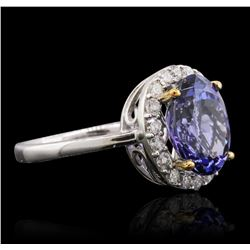 14KT Two-Tone Gold 3.90ct Tanzanite and Diamond Ring
