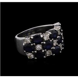 4.10ctw Blue Sapphire and Diamond Ring - 14KT White Gold
