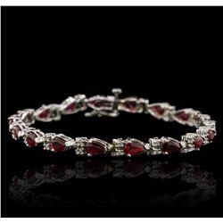 14KT White Gold 8.32ctw Ruby and Diamond Bracelet