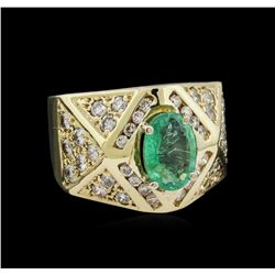 1.84ct Emerald and Diamond Ring - 14KT Yellow Gold