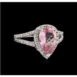 1.65ct Pink Tourmaline and Diamond Ring - 14KT White Gold