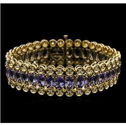 14KT Yellow Gold 20.84ctw Tanzanite and Diamond Bracelet