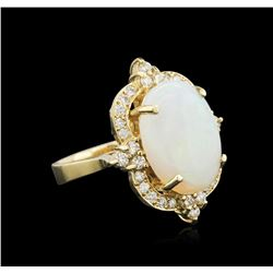 14KT Yellow Gold 3.79ct Opal and Diamond Ring