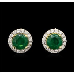 2.94ctw Emerald and Diamond Earrings - 18KT Yellow Gold