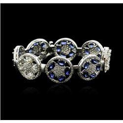 14KT White Gold 21.00ctw Sapphire and Diamond Bracelet