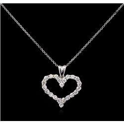 1.08ctw Diamond Pendant With Chain - 14KT White Gold