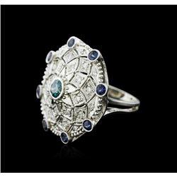14KT White Gold 0.56ctw Tanzanite and Diamond Ring