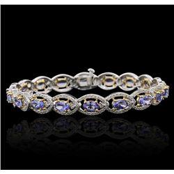 14KT Two-Tone Gold 9.00ctw Tanzanite and Diamond Bracelet