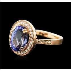14KT Rose Gold 3.37ct Tanzanite and Diamond Ring