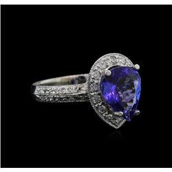 2.60ct Tanzanite and Diamond Ring - 14KT White Gold