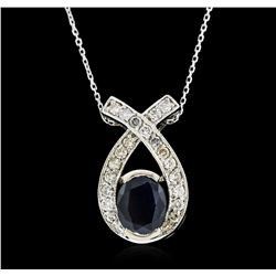 14KT White Gold 1.52ct Sapphire and Diamond Pendant With Chain