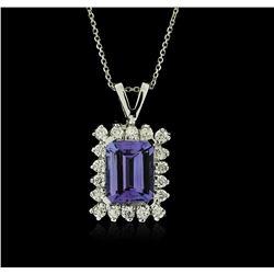 14KT White Gold 2.34ct Tanzanite and Diamond Pendant With Chain