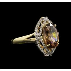 6.33ct Orange Zircon and Diamond Ring - 14KT Yellow Gold