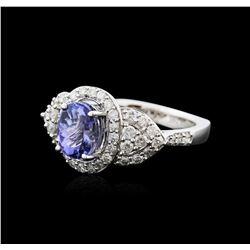 14KT White Gold 1.55ct Tanzanite and Diamond Ring