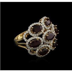 14KT Yellow Gold 3.42ctw Ruby and Diamond Ring