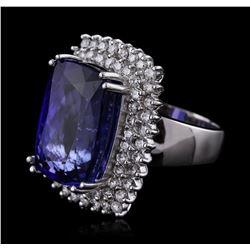 14KT White Gold GIA Certified 24.17ct Tanzanite and Diamond Ring