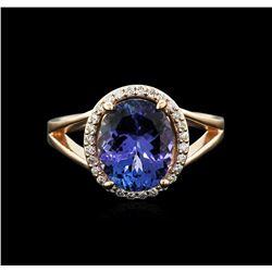 14KT Yellow Gold 4.24ct Tanzanite and Diamond Ring
