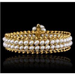 14KT Yellow Gold Pearl Bangle