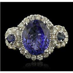 14KT White Gold 4.08ct Tanzanite, Sapphire & Diamond Ring