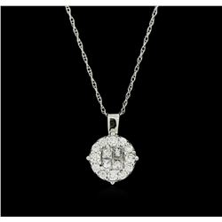 14KT White Gold 0.40ctw Diamond Pendant With Chain