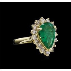 14KT Yellow Gold 2.60ct Emerald and Diamond Ring