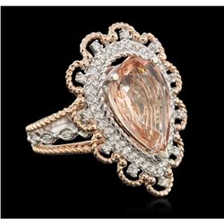 14KT Two-Tone Gold 3.84ct Morganite and Diamond Ring