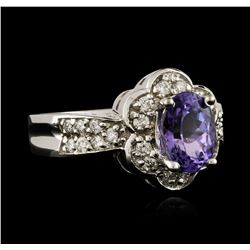 14KT White Gold 1.49ct Tanzanite and Diamond Ring