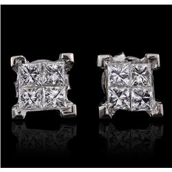 14KT White Gold 1.33ctw Diamond Earrings