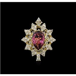 14KT Yellow Gold 3.57ct Tourmaline and Diamond Ring