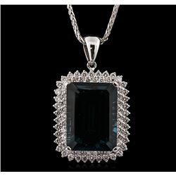 14KT White Gold 44.43ct Topaz and Diamond Pendant With Chain