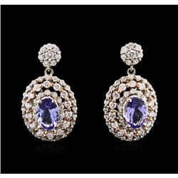 1.48ctw Tanzanite and Diamond Earrings - 14KT Two-Tone Gold