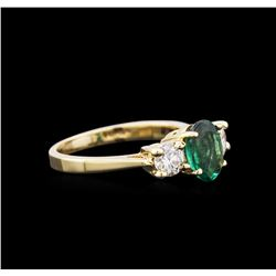 1.07ct Emerald and Diamond Ring - 14KT Yellow Gold