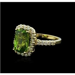 14KT Yellow Gold 4.50ct Peridot and Diamond Ring