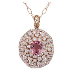14KT Rose Gold 2.16ct Tourmaline and Diamond Pendant With Chain