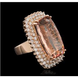 14KT Rose Gold 24.92ct Morganite and Diamond Ring