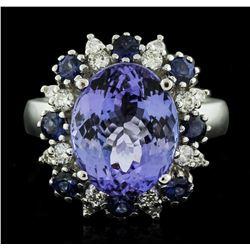 14KT White Gold 6.56ct Tanzanite, Sapphire and Diamond Ring