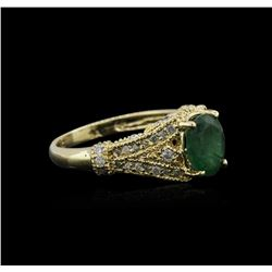 14KT Yellow Gold 1.19ct Emerald and Diamond Ring